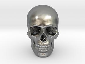25mm 1in Human Skull Crane Schädel че́реп in Natural Silver