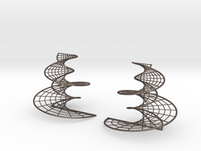 DNA earrings | 4 inches in Polished Bronzed Silver Steel