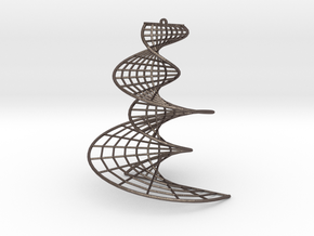 DNA earring | 3 inches in Polished Bronzed Silver Steel