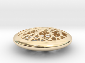 Leaf Veins Pendant in 14K Yellow Gold