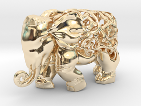 Figurine Elephant Verziert in 14K Yellow Gold