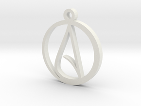 Atheist Pendant Large in White Strong & Flexible