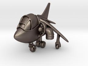 Cartoon Harrier Jump Jet in Polished Bronzed Silver Steel