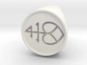 Custom Signet Ring 2 in White Natural Versatile Plastic