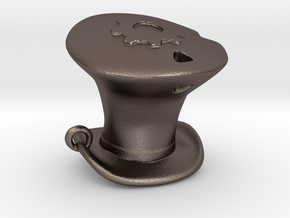 Sheriff's Tophat Pendant in Polished Bronzed Silver Steel