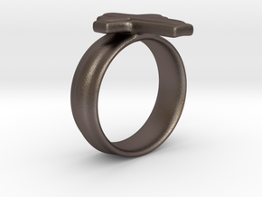 CrossRing in Polished Bronzed Silver Steel