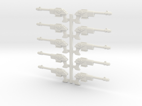 Lasguns or Autoguns 28mm scale in White Strong & Flexible
