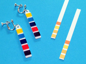 pH Litmus Paper Earrings in White Strong & Flexible Polished