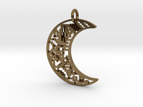 Moon Pendant in Polished Bronze