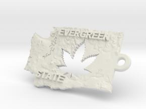 Washington State marijuana key fob in White Natural Versatile Plastic
