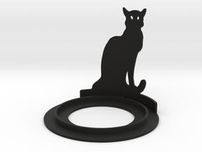 Halloween Cat Tea Candle Holder in Black Natural Versatile Plastic
