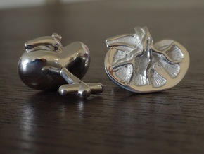 Anatomical Kidney Cufflinks in Polished Silver