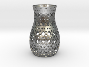 Tealight Sleeve Geometric - Small in Natural Silver