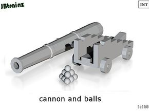 Cannon and Balls (n-scale) in Smooth Fine Detail Plastic