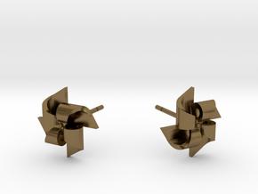 Pinwheel Earrings Small size in Polished Bronze
