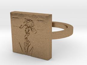 Iris Flower Ring in Natural Brass