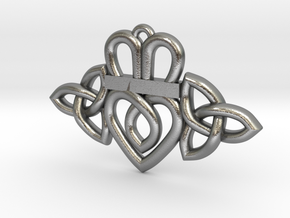 Claddagh Triquetra Pendant in Natural Silver