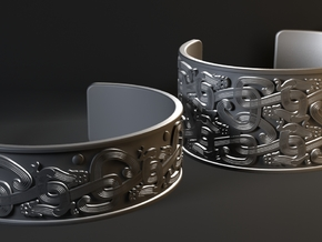 Intertwined Dragon Bracelet - 1 row ver 3 in Polished Silver