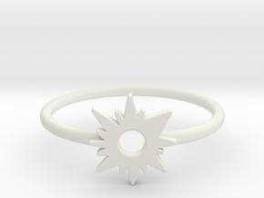 Sun Midi Ring in White Natural Versatile Plastic