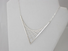 Parabolic Suspension Statement Necklace - Metal in Fine Detail Polished Silver