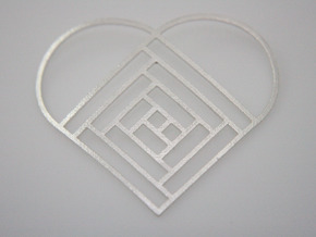Quilt Block Log Cabin Pendant - Heart Edition in Natural Silver