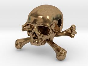 35mm 1.4in Bead Skull & Bones Pendant Crane in Natural Brass