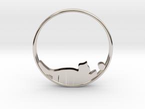 Cat Playing Ball Hoop Earrings 40mm in Platinum