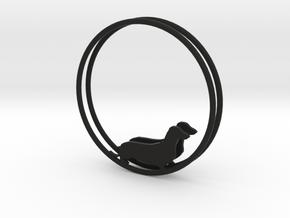 Dachshund Dog Hoop Earrings 40mm in Black Natural Versatile Plastic