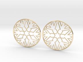 Snowflake Hoop Earrings 40mm in 14K Yellow Gold