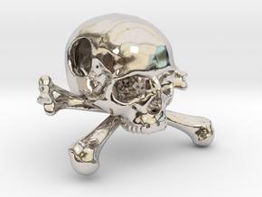 25mm 1in Bead Skull & Bones Pendant Crane in Platinum