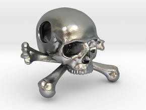 25mm 1in Bead Skull & Bones Pendant Crane in Natural Silver