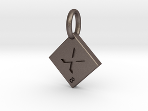 SCRABBLE TILE PENDANT  X  in Polished Bronzed Silver Steel