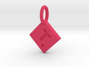 SCRABBLE TILE PENDANT  T  in Pink Processed Versatile Plastic