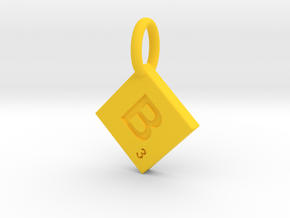 SCRABBLE TILE PENDANT  B in Yellow Processed Versatile Plastic