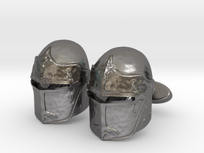 Medieval Helmet Cufflinks in Polished Nickel Steel