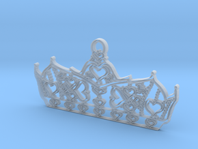 Queen of Hearts crown tiara charm or pendant 2mm t in Smooth Fine Detail Plastic