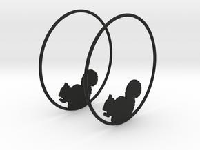 Squirrel Hoop Earrings 50mm in Black Natural Versatile Plastic