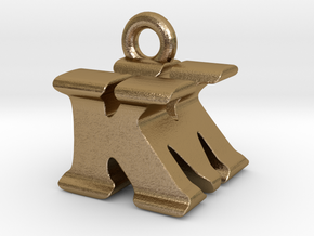 3D Monogram Pendant - KMF1 in Polished Gold Steel
