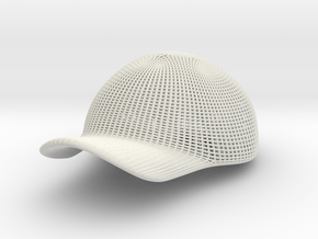 Full-Sized 3D Printed Hat in White Strong & Flexible