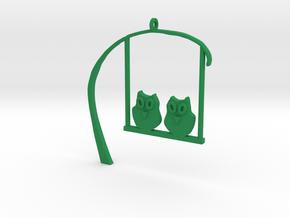 Owl Pendant in Green Processed Versatile Plastic