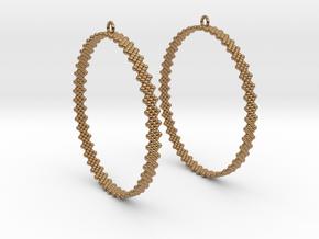 Pearl Hoop Earrings 60mm in Polished Brass