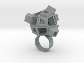 Blocky Ring in Polished Metallic Plastic