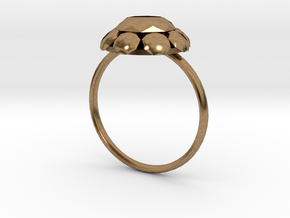 Diamond Ring US Size 7 UK Size O in Natural Brass