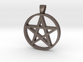 Pentagram Simple in Polished Bronzed Silver Steel
