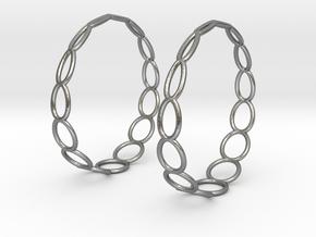 Curvy Wire 1 Hoop Earrings 50mm in Natural Silver