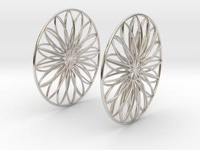 Flowerish 9 Big Hoop Earrings 60mm in Platinum