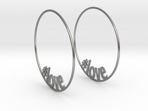 Hashtag Love Hoop Earrings 60mm in Natural Silver