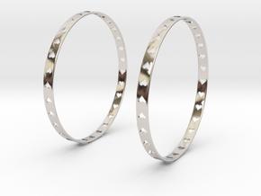 Big Hoop Earrings With Hearts 60mm in Platinum