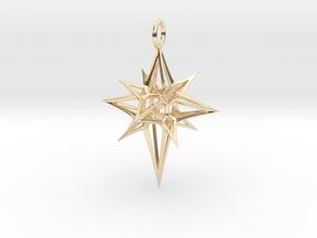Christmas 3D Star in 14K Yellow Gold