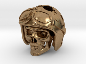"Easy Rider Skull Pendant ""Silver"" in Natural Brass"